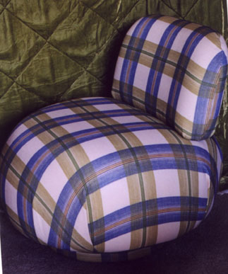 round chair plaid